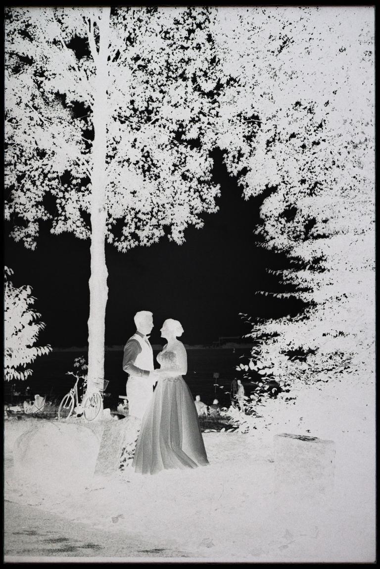 Portrait des Brautpaares an der Elbe auf analogem Film